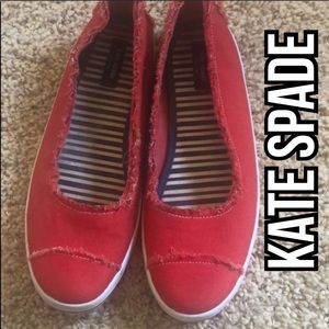 Kate Spade ♠️ Red Canvas/Slip Ons Size 9